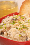 Bowl of Risotto. Bowl of creamy mushroom risotto with crostini and white wine Royalty Free Stock Photos
