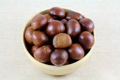 A Bowl of Roasted Sweet Chestnuts Stock Image