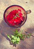 The bowl with rose petals and mint Stock Photos