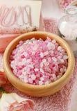 Bowl of rose sea salt Stock Photos
