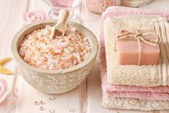 Bowl of rose sea salt Stock Photography