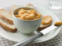 Bowl of Rouille with Croutes Stock Photography