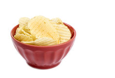 Bowl of Ruffled Potato Chips Isolated on White Stock Photography