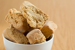 Bowl of rusks. A white bowl of rusks Royalty Free Stock Photo