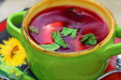 Bowl with russian beets soup Stock Photo