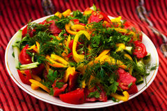 Bowl of salad. A bowl of salad with tomatoes and cucumbers Royalty Free Stock Photo
