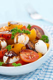 Bowl of salad with mozzarella, balsamic sauce, colorful cherries Royalty Free Stock Photography