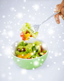 Bowl of salad with vegetables Stock Photos