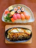 Bowl of salad with vegetables, Katsudon, Saba fish teriyaki sauce, sushi, Japan food, Japan table food stock photo