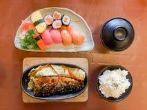 Bowl of salad with vegetables, Katsudon, Saba fish teriyaki sauce, sushi, Japan food, Japan table food stock photography