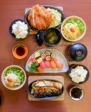 Bowl of salad with vegetables, Katsudon, Saba fish teriyaki sauce, sushi, Japan food, Japan table food stock images