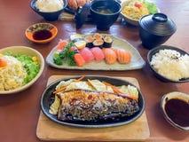 bowl of salad with vegetables, Katsudon, Saba fish teriyaki sauce, sushi, Japan food, Japan table food royalty free stock photos