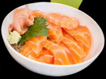 Bowl of salmon sashimi Royalty Free Stock Images