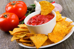 Bowl of salsa with chips Royalty Free Stock Photo