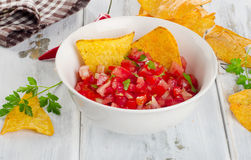 Bowl of  salsa dip with chips. Royalty Free Stock Image
