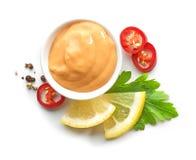 Bowl of salsa sauce Stock Images