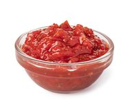Bowl with salsa sauce. On white background royalty free stock photos