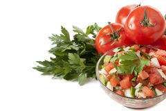 Bowl of salsa with tomatoes and celery Stock Photo