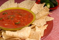 Bowl of salsa with tortilla chips. With Jalapeno peppers Royalty Free Stock Photography