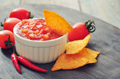 Bowl of salsa with tortilla chips Royalty Free Stock Photo