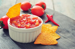 Bowl of salsa with tortilla chips Royalty Free Stock Photos