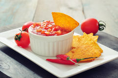 Bowl of salsa with tortilla chips Stock Photography
