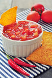 Bowl of salsa with tortilla chips Stock Images
