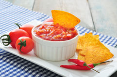 Bowl of salsa with tortilla Royalty Free Stock Photo