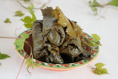 Bowl of salted and fresh grape leaves Royalty Free Stock Photos