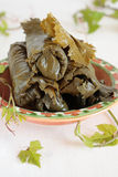 Bowl of salted grape leaves Stock Photos