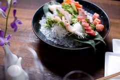 Bowl of Sashimi Stock Photo