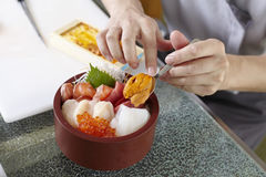 Bowl of Sashimi Don Stock Photo