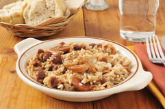 Bowl of sausage, beans and rice Stock Photo