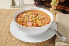A bowl of sausage and chicken gumbo Stock Images