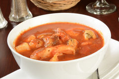 Bowl of seafood stew Stock Images