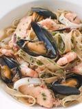 Bowl of Seafood Tagliatelle Stock Photos