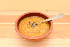 Bowl of seasoned lentil and vegetable soup Royalty Free Stock Photo
