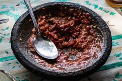 Bowl with selfmade sambal at a local warung. In Indonesia Royalty Free Stock Image