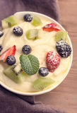 Bowl of semolina dessert with berries Royalty Free Stock Photography