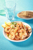 Bowl of shelled grilled pink prawns Royalty Free Stock Images