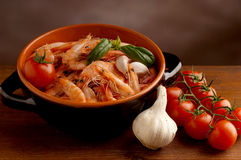 Bowl of shrimp Stock Photography