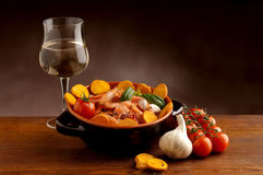 Bowl of shrimp and wine Stock Photo