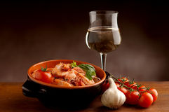 Bowl of shrimp and wine Royalty Free Stock Photos