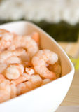 Bowl of Shrimps. A closeup view of a bowl containing fresh shrimps Royalty Free Stock Image