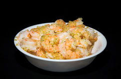 Bowl of shrimps with garlic Stock Photography
