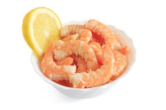 Bowl with shrimps and lemon Royalty Free Stock Photo