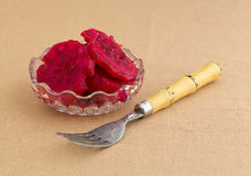 Bowl of sliced cactus pear with fork Royalty Free Stock Photos