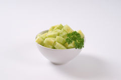 Bowl of sliced cucumber Royalty Free Stock Photography