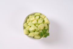 Bowl of sliced cucumber Stock Image