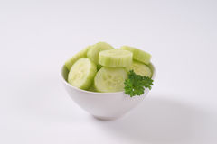 Bowl of sliced cucumber Royalty Free Stock Photo
